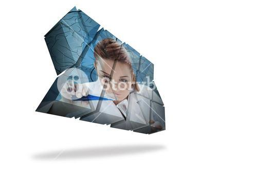 Scientist on abstract screen