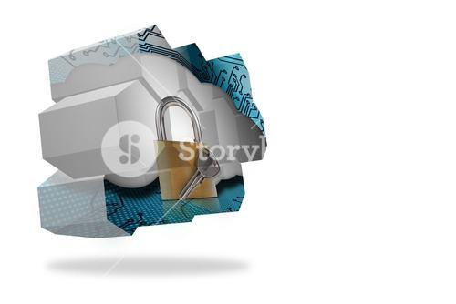 Lock and key on abstract screen
