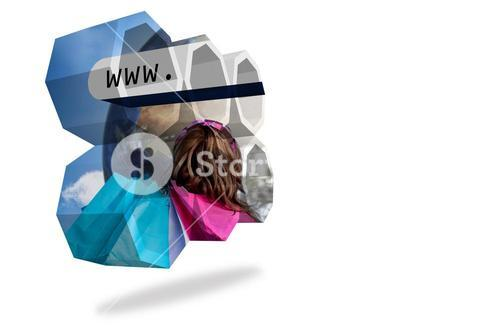 Online shopping on abstract screen