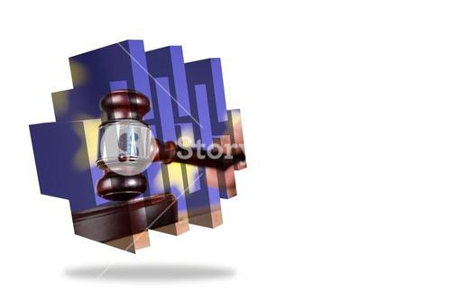 Hammer and gavel on abstract screen
