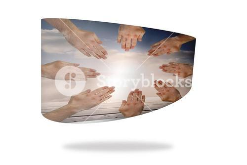 Hands together on abstract screen