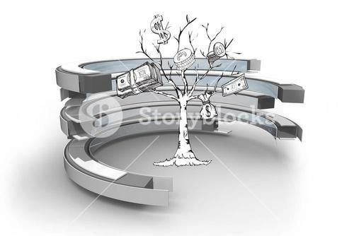 Money tree in a curved structure