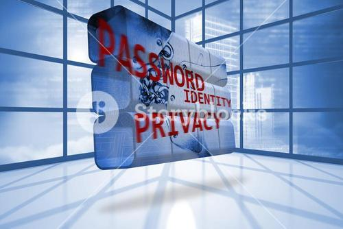 Privacy graphic on abstract screen