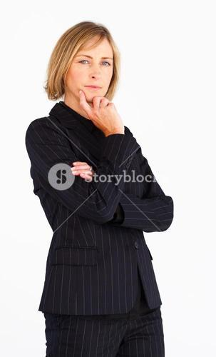 Pretty businesswoman looking at the camera