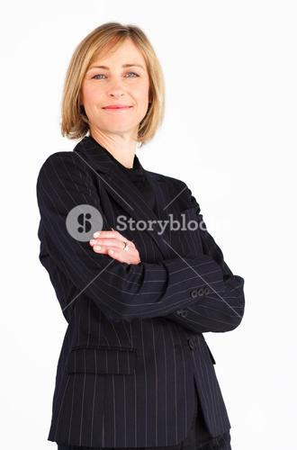 Radiant businesswoman looking at the camera