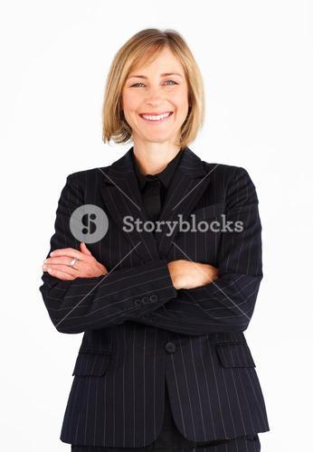 Bright businesswoman looking at the camera