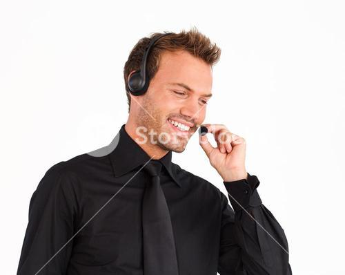 Attractive customer service representative man