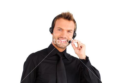 Smiling customer service representative man