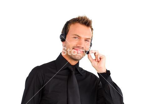 Confident customer service representative man