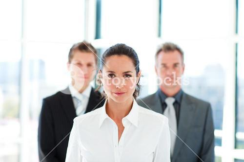 Young businesswoman leading her team