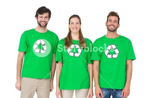 Young people wearing recycling symbol tshirts