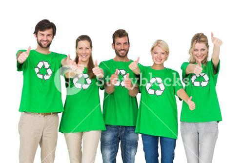 People in recycling symbol tshirts gesturing thumbs up