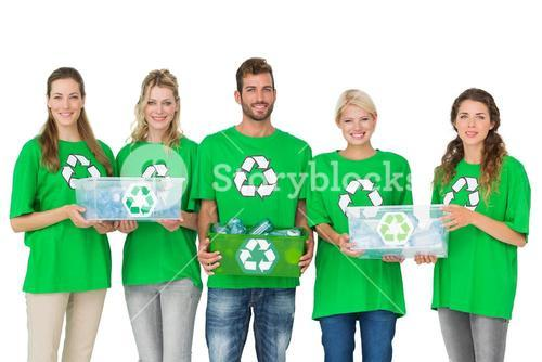 People in recycling symbol tshirts carrying boxes