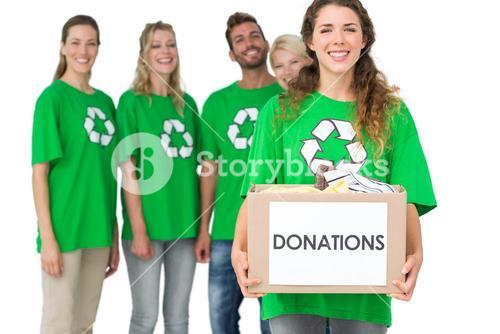 People in recycling symbol tshirts with donation box
