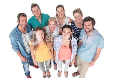 Group portrait of casual happy people