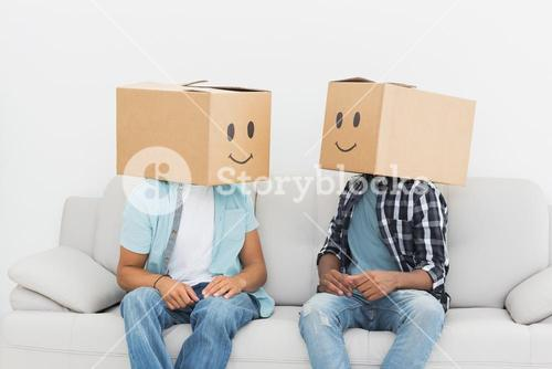 Men with happy smiley boxes over faces