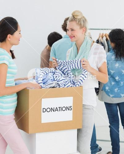 People with clothes donation