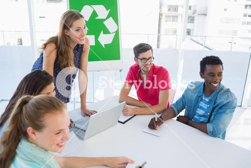 Casual team having meeting about eco policy