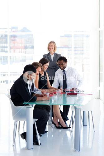 Leadership with her team in a meeting