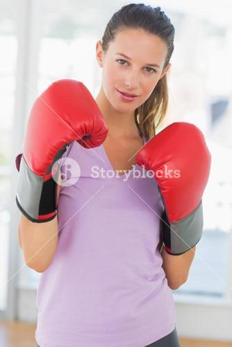 Portrait of a determined female boxer
