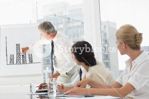 Business manager presenting bar chart to his staff