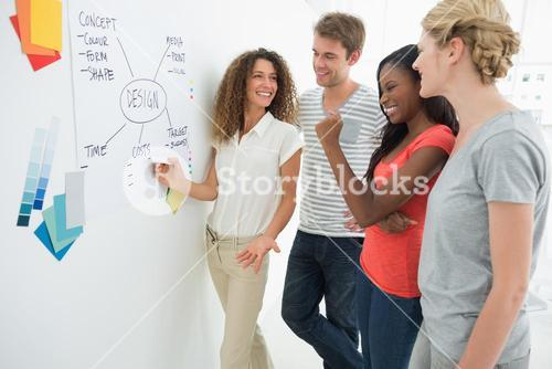 Happy designers discussing a flowchart on whiteboard