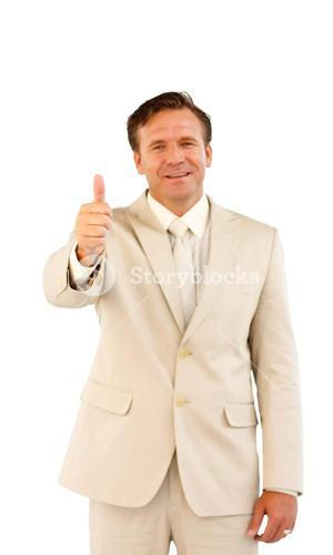 Portrait of a businessman with a thumb up