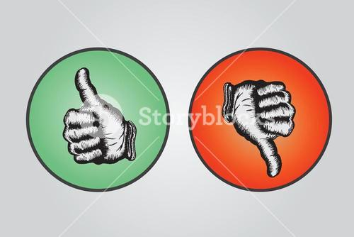 Thumbs up and thumbs down illustration