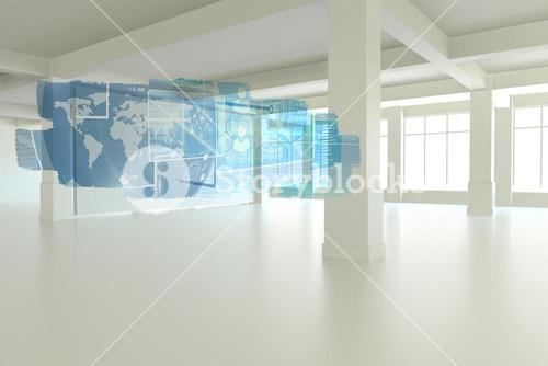 Abstract screen in room showing global communication