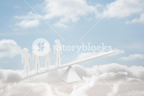 White human resource scales in clouds