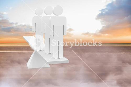 White human resource scales on beach