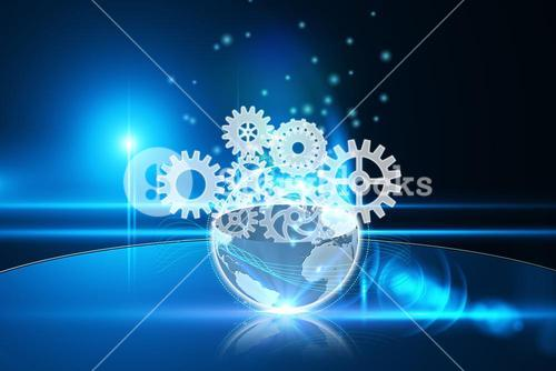 Glowing earth with cogs and wheels