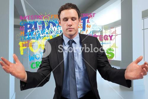 Composite image of businessman posing with arms out