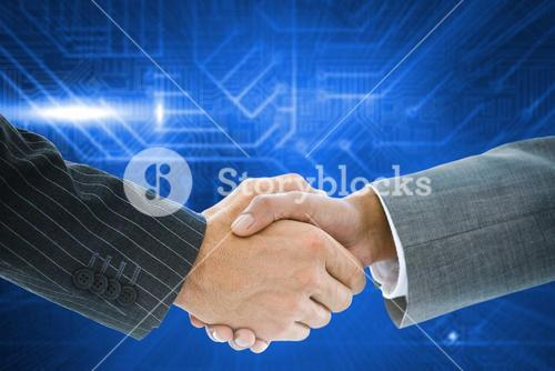 Composite image of business handshake