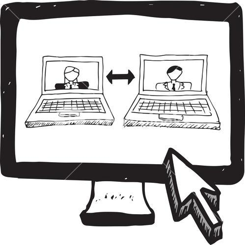 Video chat doodle on computer screen