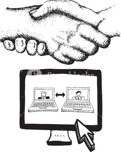 Video chat and handshake illustrations
