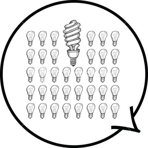 Light bulbs in speech bubble
