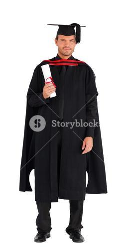 Happy graduate boy with his diploma