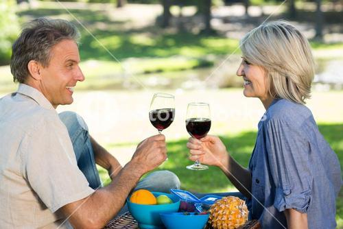Couple toasting wine in park