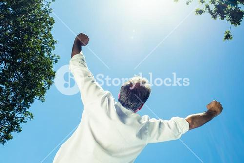 Rear view of businessman with arms outstretched