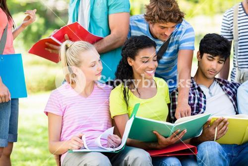Students studying at college campus