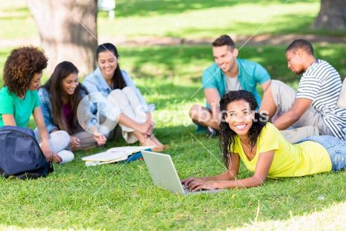 Group of students studying on campus