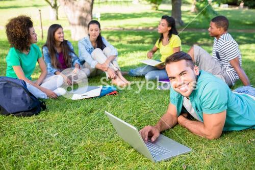University students studying at campus