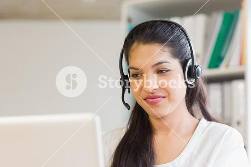 customer service operator wearing headset