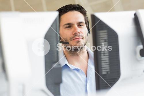 Customer service representative using computer