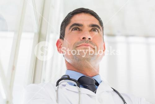 Thoughtful doctor in hospital