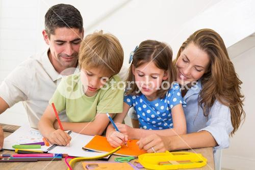 Family coloring together at home