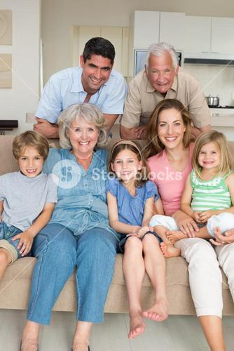 Happy multigeneration family at home