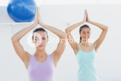 Sporty women with joined hands in fitness studio