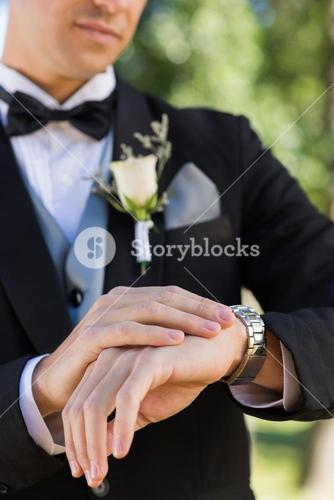 Midsection of bridegroom checking time